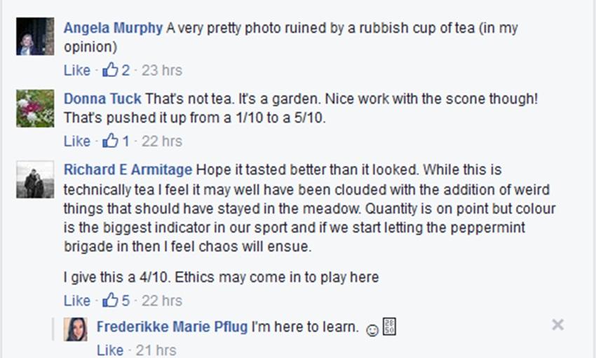 Frederikke Marie Pflug tea response