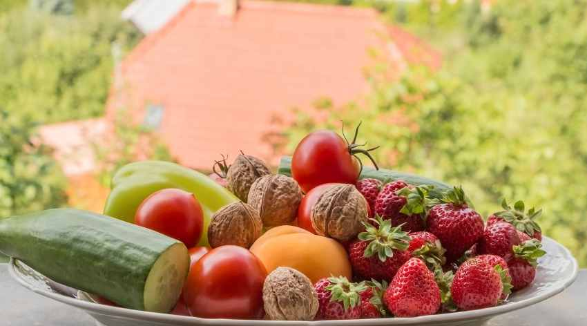 Summer bowl of fruits and vegetable