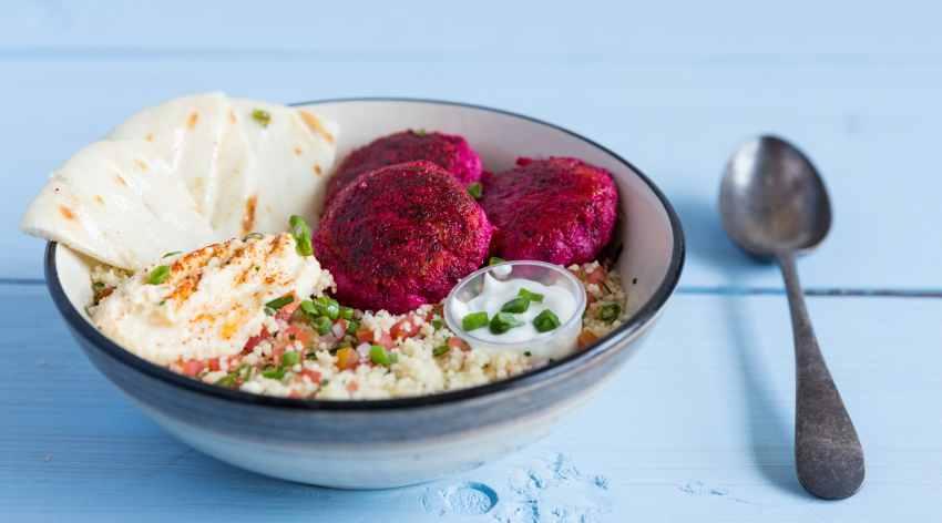 Baked beetroot feta falafels with hummus pita & tabouleh