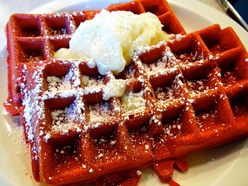 red velvet waffles - Yidian Cheow