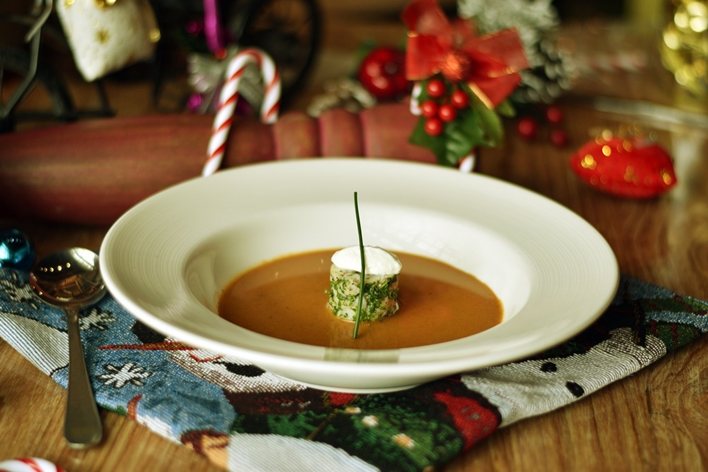 Roasted pumpkin soup with coconut milk panna cotta at The Sassy Spoon, bandra
